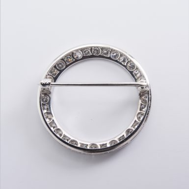 Pre-owned 14k White Gold Diamond Circle Pin