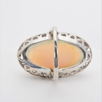 Pre-owned 14k White Gold 18 Carat Opal and Diamond Ring