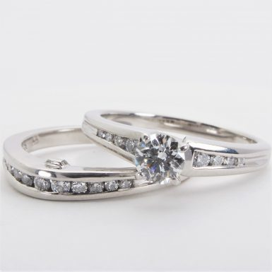 Pre-owned Platinum Diamond Engagement Ring and Wedding Band
