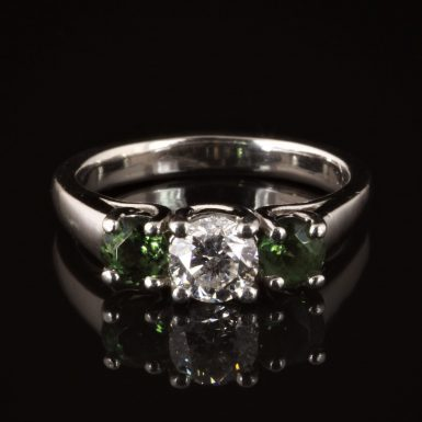 Pre-owned Diamond and Tourmaline 3-stone Engagment-style Ring