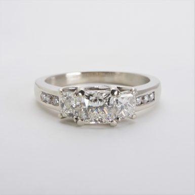 14K White Gold Three-Stone Diamond Ring