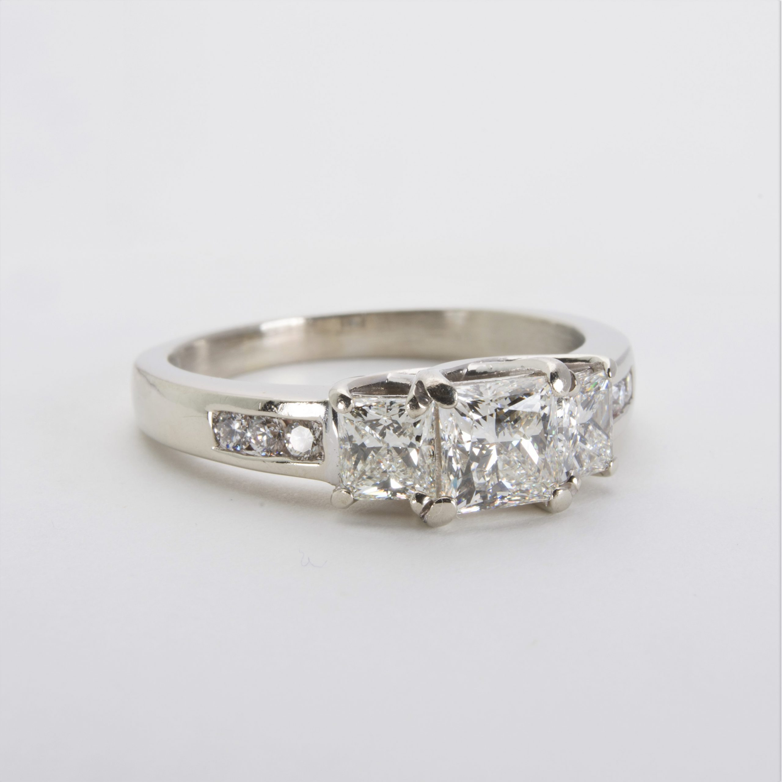 14K White Gold Three-Stone Diamond Ring