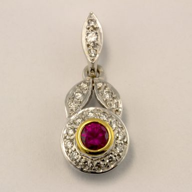 Pre-owned 18K Two-tone Ruby and Diamond Pendant