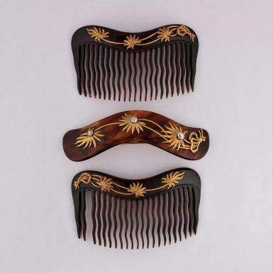 ANTIQUE 18K DIAMONDS 3PC HAIR COMBS