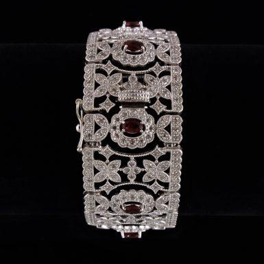 Ruby & Diamond Flexible, Cuff -Style Bracelet/ Open Filigre - Mil-Grained