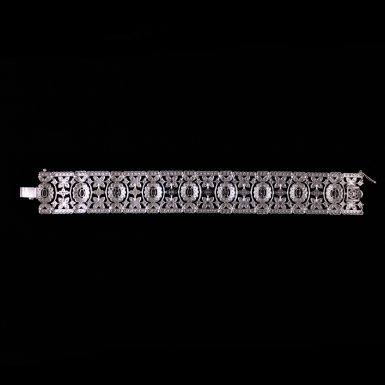 Ruby & Diamond Flexible, Cuff -Style Bracelet/ Open Filigre - Mil-Grained