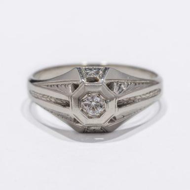 18k White Gold Men's Dome Style Diamond Ring
