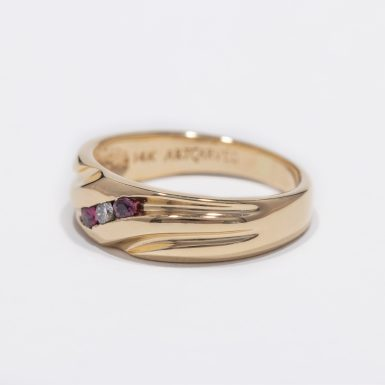 Pre-Owned 14k Diamond and Ruby Wedding Band