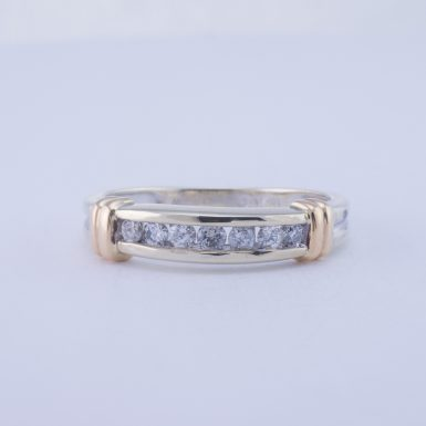 Pre-Owned 10k White Gold Diamond Band with Yellow Gold Bands, .25 Carat
