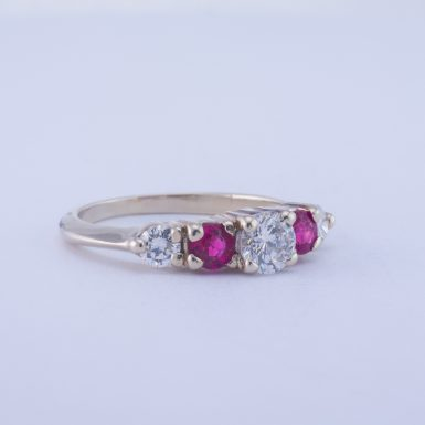 Pre-Owned 14k White Gold Diamond and Ruby Ring
