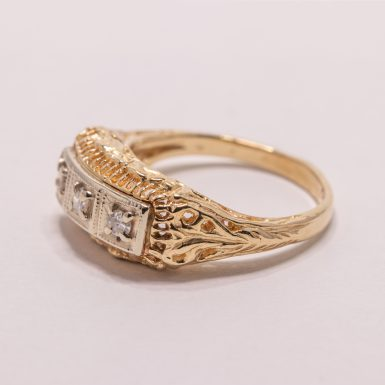 Pre-Owned 14k 3-Diamond Filigree Band