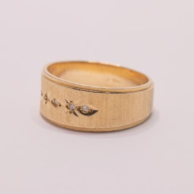 Pre-Owned 14k Wide Textured Diamond Wedding Band
