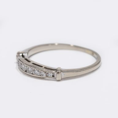 Vintage Diamond Channel Band in 14k White Gold