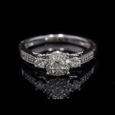 Pre-Owned 14k Cluster Style Diamond Engagement Ring