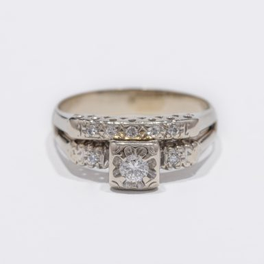 Vintage Wedding Set with .22ct Diamonds in 14Karat White Gold