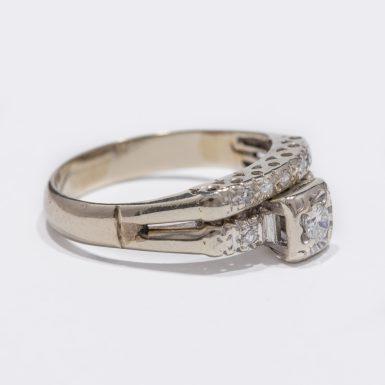 Vintage Wedding Set with .22ct Diamonds in 14Karat White Gold