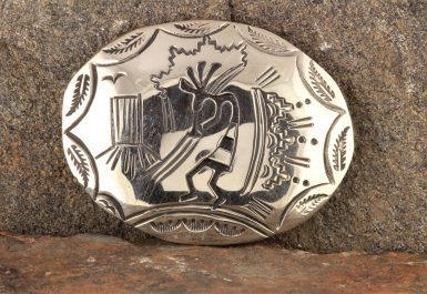 Pre-Owned Native American, Sterling Silver Kokopelli Belt Buckle, Signed: LN