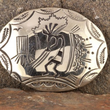 Pre-Owned Native American, Sterling Silver Kokopelli Belt Buckle, Signed: LN