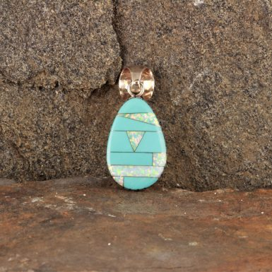 Pre-Owned Native American, Sterling Silver, Inlaid Turquoise & Synthetic Opal Pendant