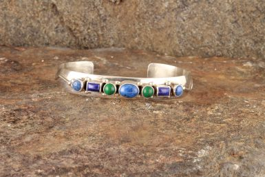 Pre-Owned Native American Sterling Silver Multi-Stone Bracelet with Lapis and Malachite