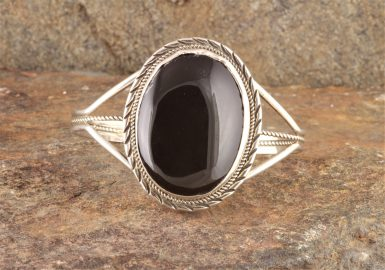 Pre-Owned Native American, Sterling Silver Onyx Cuff Bracelet
