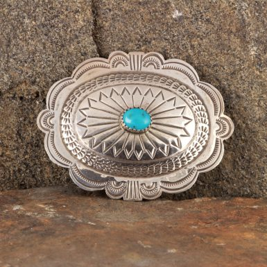 Pre-Owned Native American Sterling Silver, Shield Pin with Turquoise
