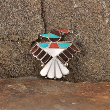 Pre-Owned Native American Thunderbird Pin, Sterling Silver with Inlaid Turquoise and Coral