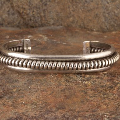 Pre-Owned Native American, Sterling Silver, Navajo Cuff Bracelet, Signed TAHE - Elaine Tahe