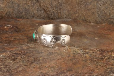"""Pre-Owned Native American Sterling Silver Baby Cuff Bracelet, Signed: """"E.Yazzle"""""""