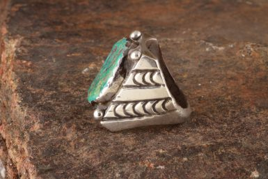 Pre-Owned Native American, Signed, Silver Ring with Turquoise