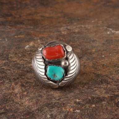 Pre-Owned Native American, Sterling Silver, Turquoise and Coral Ring