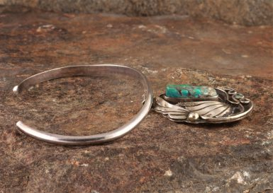 Pre-Owned Native American, Sterling Silver Bracelet, with Turquoise, Designed and Made by Justin Mouie-Navajo