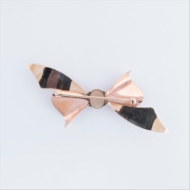 Vintage 14K Yellow and Rose Gold Opal and Diamond Bow Pin
