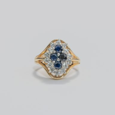 Pre-Owned 14k Sapphire and Diamond Cluster Ring