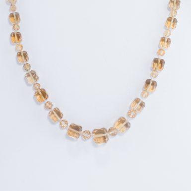 Art Deco Graduated Citrine Bead Necklace