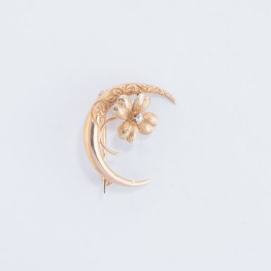 Victorian 14K Moon and Flower Pin