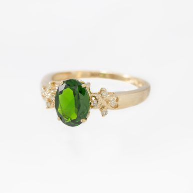Pre-Owned 10K Chrome Diopside and Diamond Ring