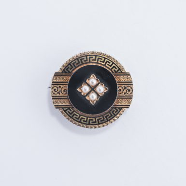 Victorian 18K Pearl Mourning Brooch