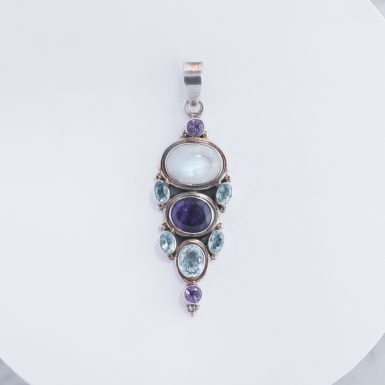 Pre-Owned Sterling Silver Amethyst Moonstone Blue Topaz Pendant