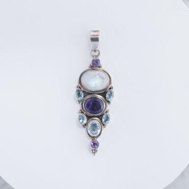 Pre-Owned Sterling Silver Amethyst Moonstone Blue Topaz Pendant