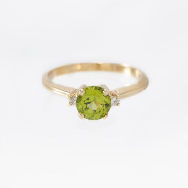 Pre-Owned Classic 14K Peridot & Diamond Ring