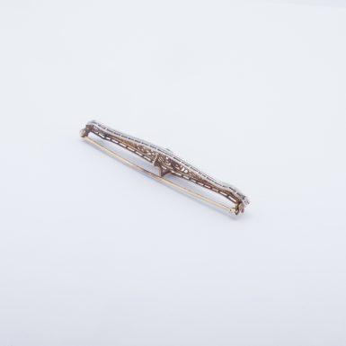 Antique 14K White and Yellow Gold Diamond Filigree Bar Pin