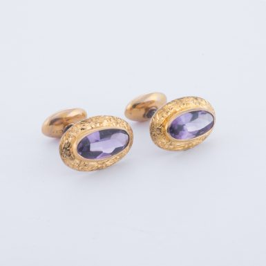 Vintage 10K Amethyst Cuff Links with 14K Top