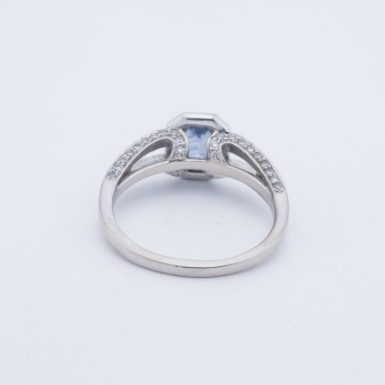 Pre-Owned 18K Halo Tanzanite and Diamond Ring
