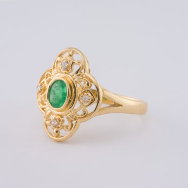 Pre-Owned 18K Emerald and Diamond Ring