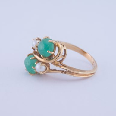 Pre-Owned 14k Emerald and Pearl Ring