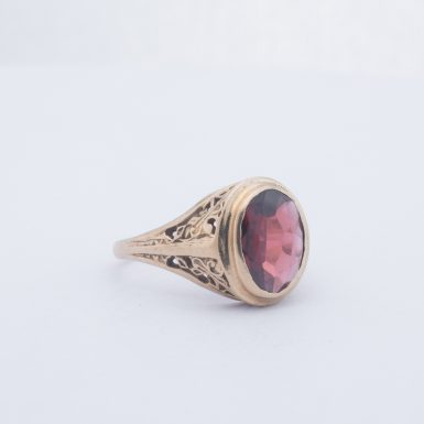 Estate 14K Hessonite Garnet Filigree Ring