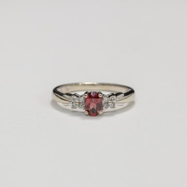 Pre-Owned 10K Garnet and Diamond Ring