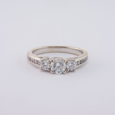 Pre-Owned Classic Journey Diamond Engagement Ring in 14 Karat White Gold