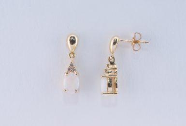 Pre-Owned 14K Opal and Diamond Drop Earrings